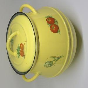 Vintage Belgium yellow cast iron pot with lid